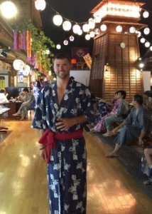 Grant wearing traditional robe at a Tokyo Onsen