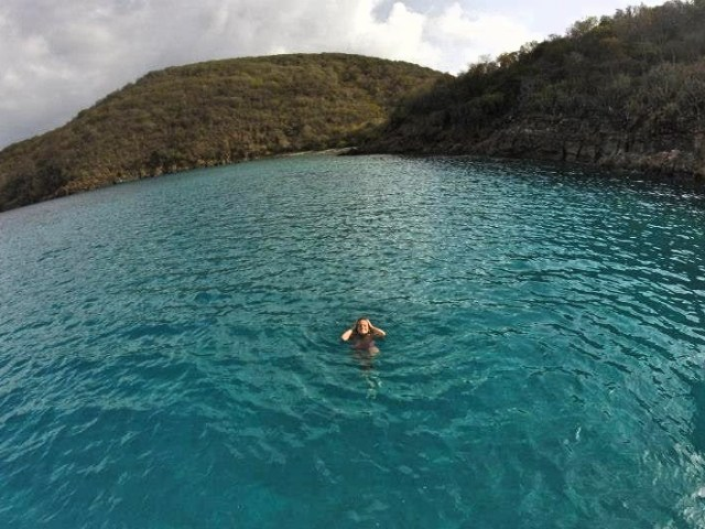 Rachel floating in BVIs