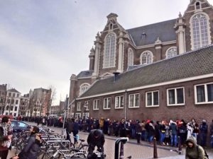 The line outside of the Anne Frank House