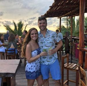 Grant and Rachel at Sunset form Mateos happy hour in Tulum