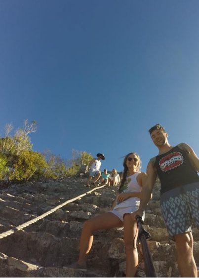 Grant and Rachel at Coba Mayan ruins