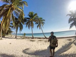 Grant at a beautiful beach in Sian Ka'an Biosphere Reserve
