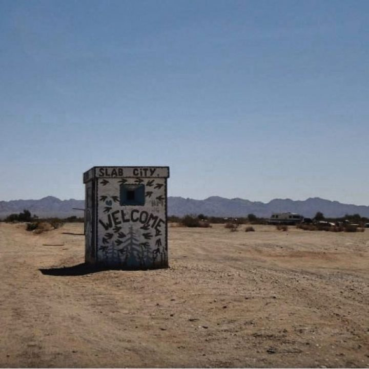 A Welcome to Slab City sign