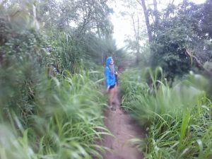 Rachel hiking the sleeping giant in Kauai
