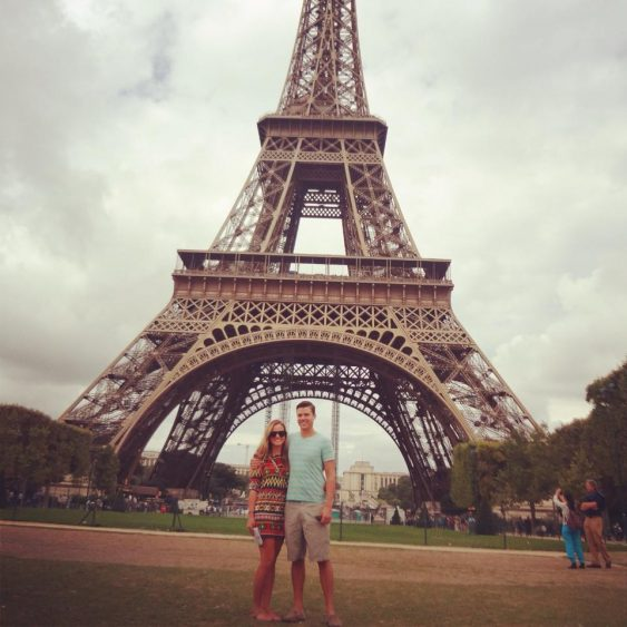Grant and Rachel at the Eiffel Tower in Paris