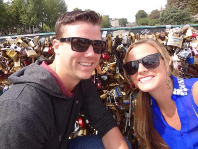 Grant and Rachel at the Lock Bridge in Paris