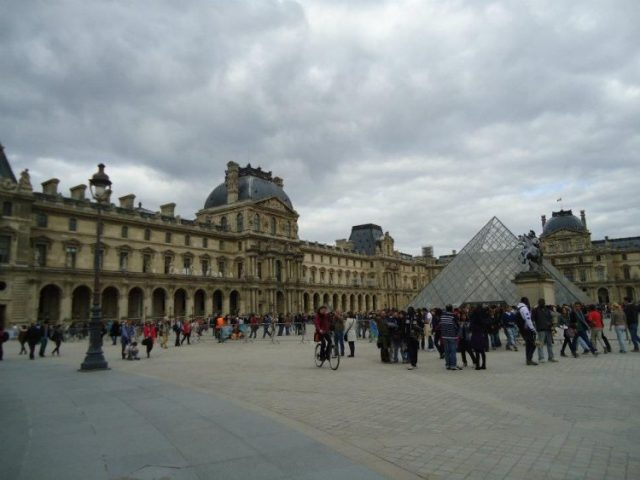 Outside of the Louvre in Paris
