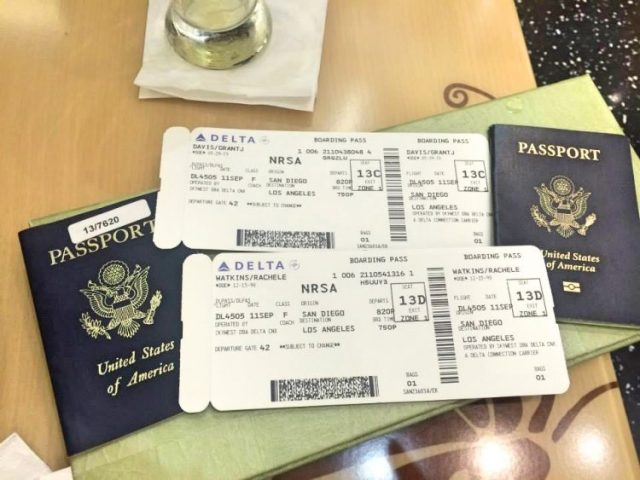 Passports and boarding pass