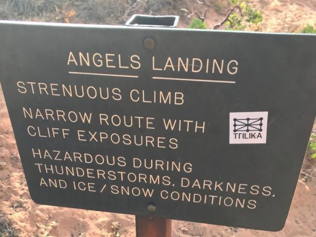 Angles Landing Zion sign