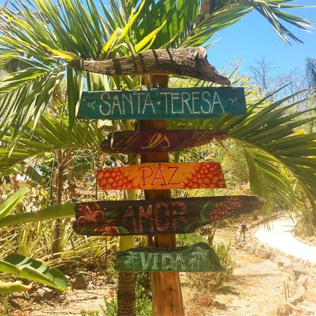 Welcome sign Santa Teresa Costa Rica