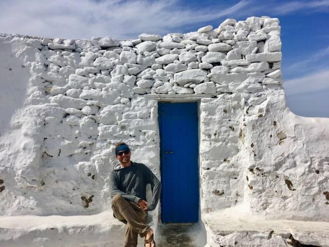 blue door in mykonos