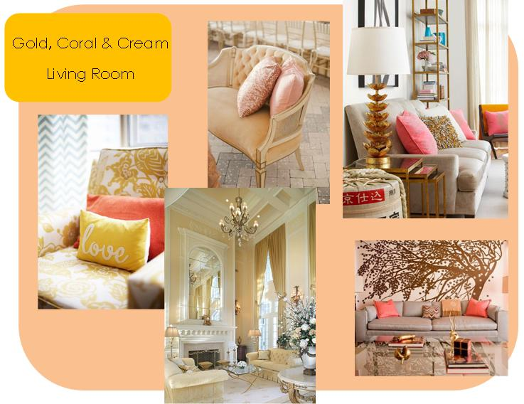 gold and cream living room ideas gold coral amp living room home decor ideas soul 24433