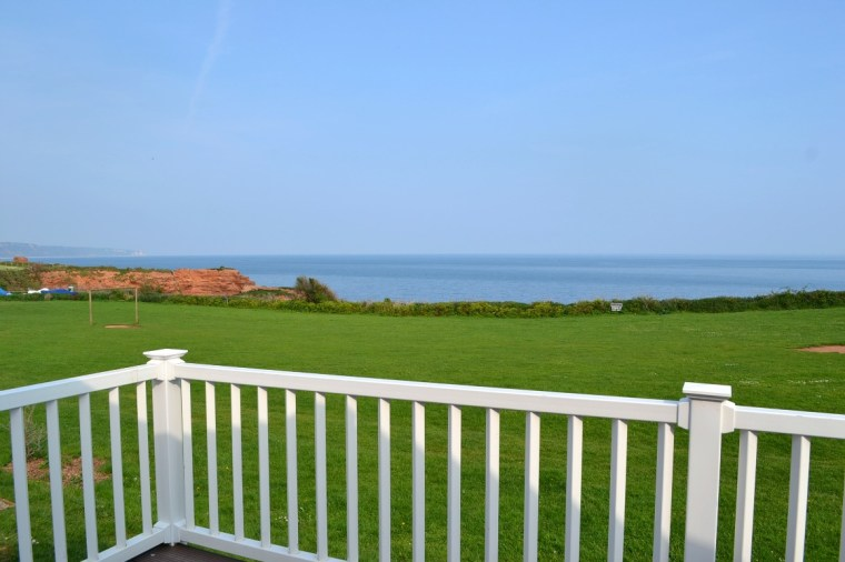 The view from our balcony at Ladram Bay Holiday Park in Devon