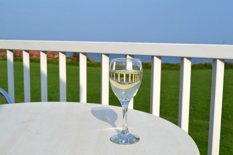 Wine on my balcony at Ladram Bay Holiday Park in Devon
