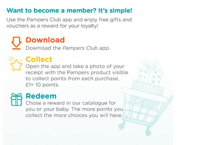 Join Pampers club for free and earn points when you shop