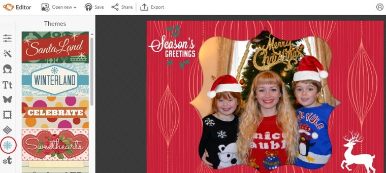 PicMonkey how to create a Christmas card with themes