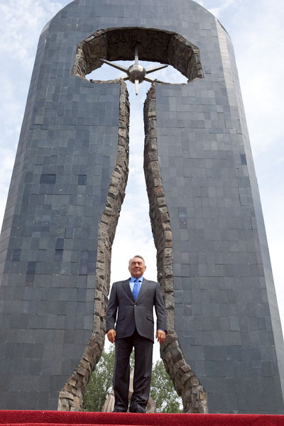 President Nursultan Nazarbayev at a memorial to the victims of nuclear testing in the town of Semey, formerly Semipalatinsk.