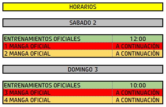 Horarios Subida a Taboadela 2019