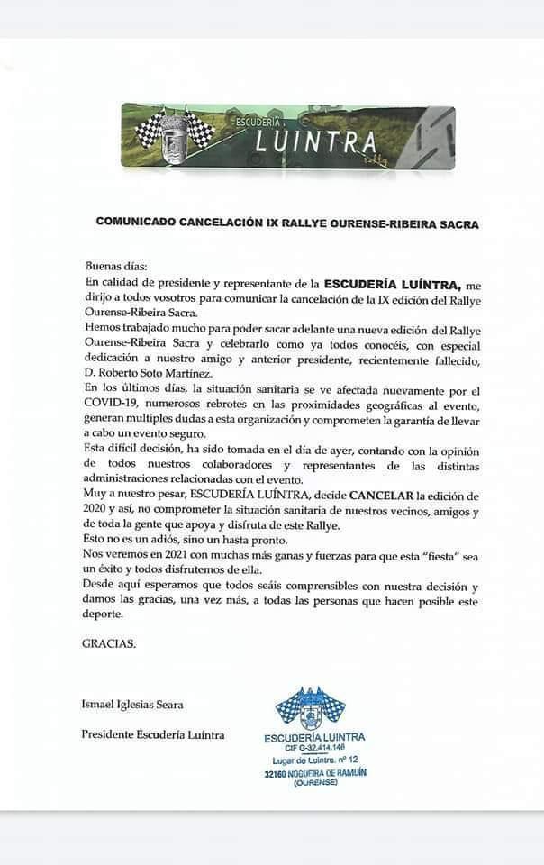 Comunicado Escuderia Luintra