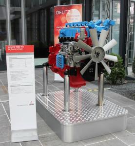 H2 engine in the foyer of the Deutz head office in Cologne-Portz
