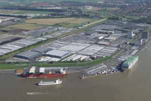 The Port of Emden, aerial view.