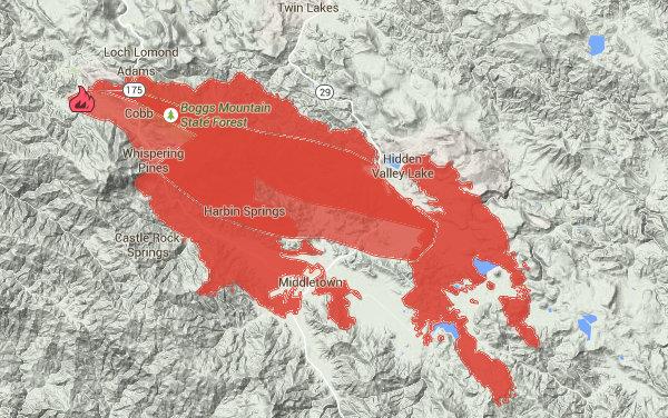 Carte du feu de Valley ce matin. document Google/Cal Fire