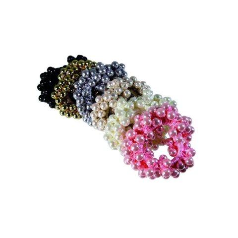 Zopfgummi mit rundum vielen Perlen Teile der Kollektion in pink, weiss, beige, bleu, braun, schwarz