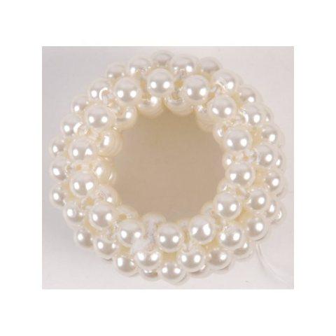Duttband weiß mit Perlen