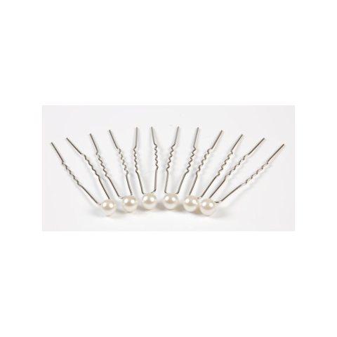Haarnadel Perle elfenbein (Inhalt: 6 Stück)