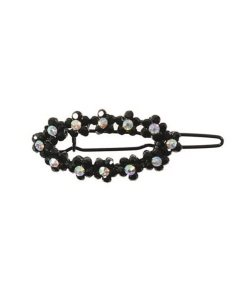 Haarklipp schwarz mit cristallfarbenen Strasssteinen