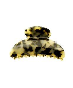 Haarklammer Plattenmaterial beige mit goldenen Zacken