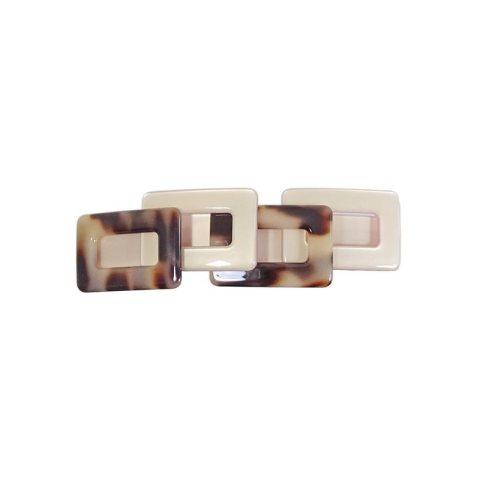 Patentspange Plattenmaterial breit mit aufgesetzten Vierecken beige