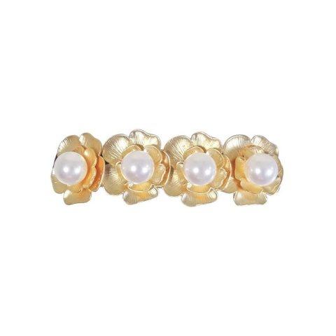 Patentspange in Blütenform mattgold mit großen Perlen