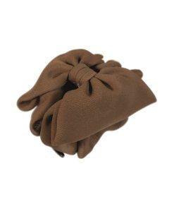 große Haarklammer mit Satinschleife in braun