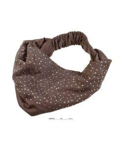 Haarband breit mit Gummizug und Strasssteinen braun