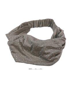Haarband breit mit Gummizug und Strasssteinen grau