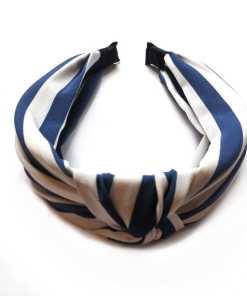 Haarreifen Stoff Streifen Knoten blau