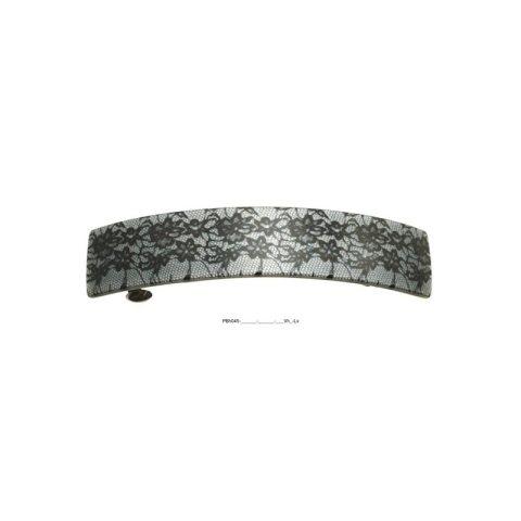 Patentspange grau gebogen mit Spitzenoptik und Blüten schwarz