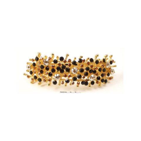 Patenthaarspange Gestell gold mit vielen Swarovskisteinen in unterschiedlicher Größe und Farbschattierungen schwarz topaz cristall