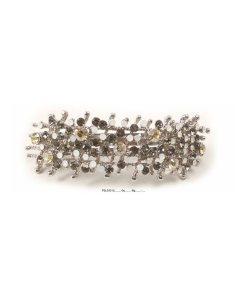 Patenthaarspange Gestell silbermit vielen Swarovskisteinen in unterschiedlicher Größe und Farbschattierungen grau beige