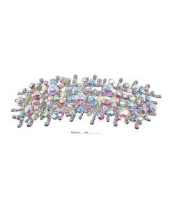 Patenthaarspange Gestell silber mit vielen Swarovskisteinen in unterschiedlicher Größe und Farbschattierungen cristall bleu rot