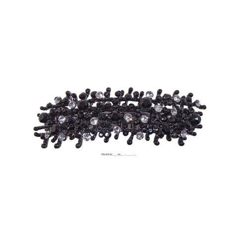 Patenthaarspange Gestell schwarz mit vielen Swarovskisteinen in unterschiedlicher Größe und Farbschattierungen schwarz cristall