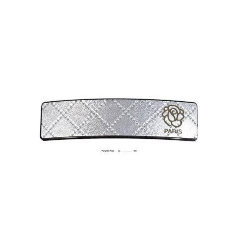 Patentspange Kunststoff schwarz mit Rautenmuster silberund aufgesetzter silberner kleiner Rose