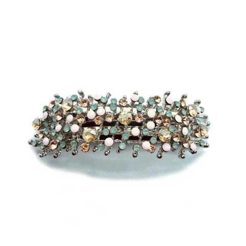 Große Haarspange mit Strass_Silber Aqua Beige