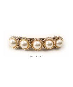 Haarspange mit fünf runden Perlen umrahmt von Swarovskisteinen in cristall gold