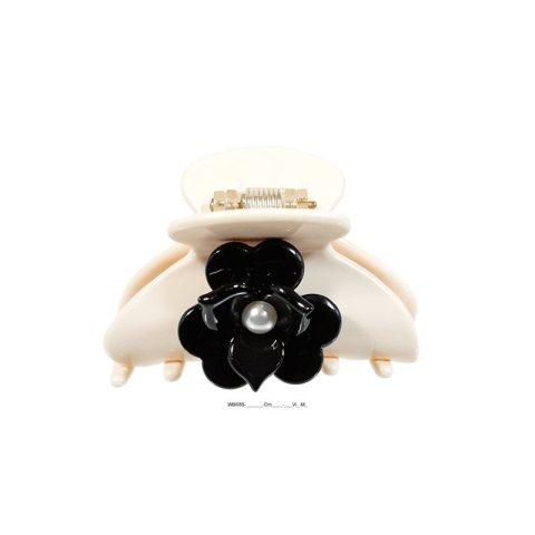 Wellenreiter aus Kunststoff mit Blüte und Perle, mittel, creme schwarz