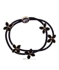 Zopfgummi doppelt mit Blumen und Mesisngkrone schwarz