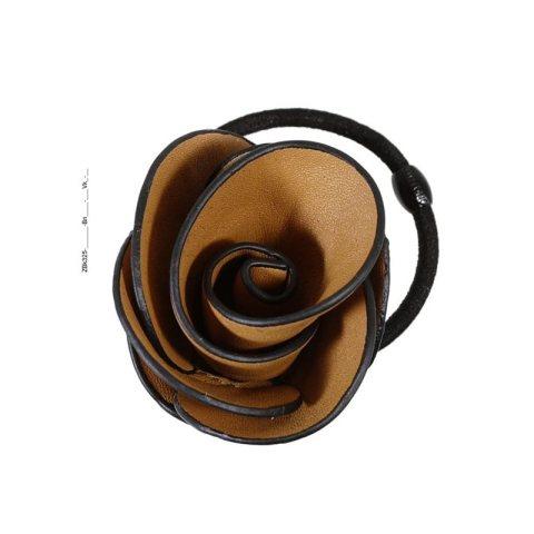 Zopfgummi mit großer Stoffrose in braun mit schwarzem Rand