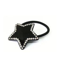 Zopfgummi schwarzer Stern mit Straßsteinen