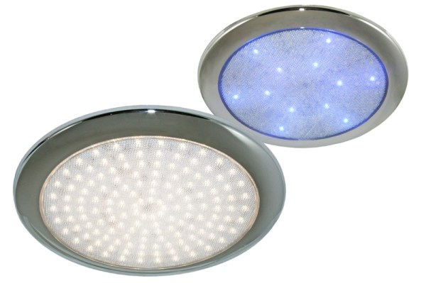 Tarente 156wit-12blauw Led plaff.helder glas chroom ring